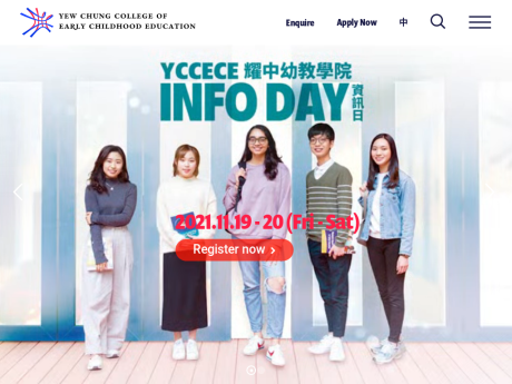 Website Screenshot of Yew Chung Community College