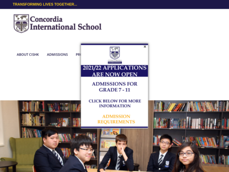 Website Screenshot of Concordia International School