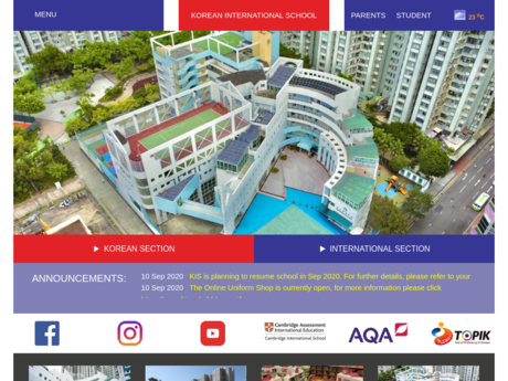 Website Screenshot of Korean International School