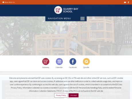 Website Screenshot of Quarry Bay School