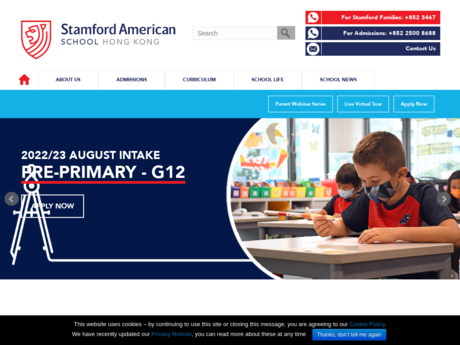 Website Screenshot of Stamford American School Hong Kong