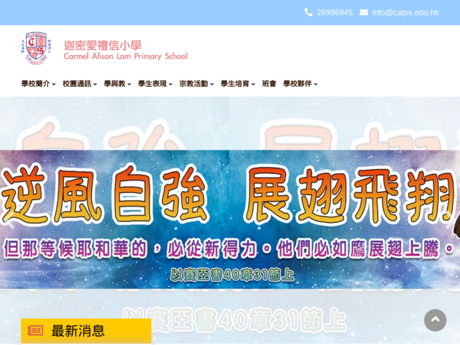 Website Screenshot of Carmel Alison Lam Primary School
