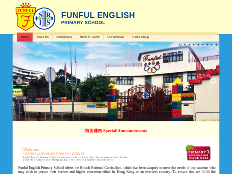Website Screenshot of KLT Funful English Primary School