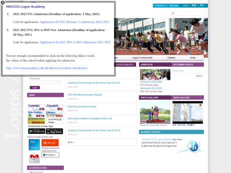 Website Screenshot of The Hong Kong Chinese Christian Churches Union Logos Academy