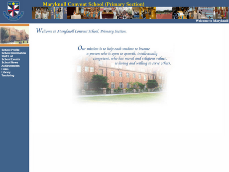 Website Screenshot of Maryknoll Convent School (Primary Section)