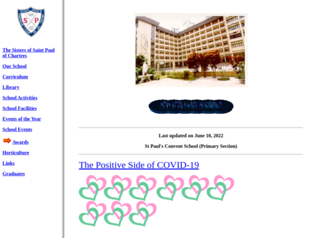 Website Screenshot of St. Paul's Convent School (Primary Section)