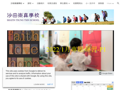 Website Screenshot of Shatin Tsung Tsin School