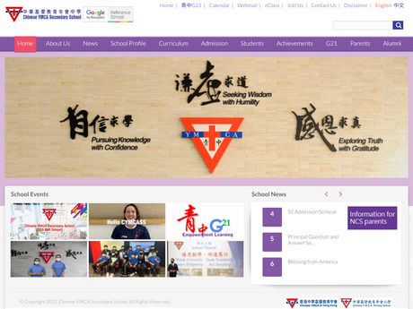 Website Screenshot of Chinese YMCA Secondary School