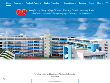 Website Screenshot of Daughters Of Mary Help Of Christians Siu Ming Catholic Secondary School