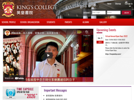 Website Screenshot of King's College