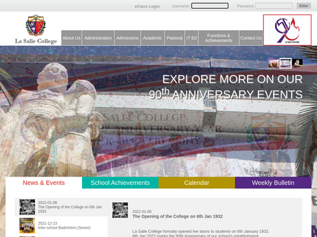 Website Screenshot of La Salle College
