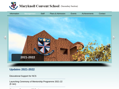 Website Screenshot of Maryknoll Convent School (Secondary Section)