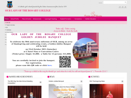 Website Screenshot of Our Lady Of The Rosary College