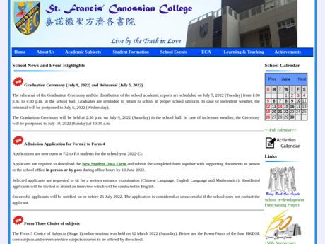 Website Screenshot of St. Francis' Canossian College