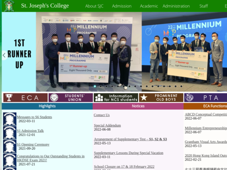 Website Screenshot of St. Joseph's College