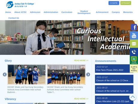 Website Screenshot of Jockey Club Ti-I College