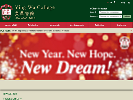 Website Screenshot of Ying Wa College